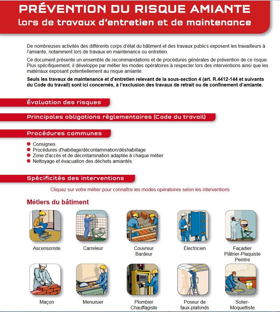 Prévention du risque amiante lors de travaux d\u0027entretien et de maintenance  (sous,section 4) Prévention BTP