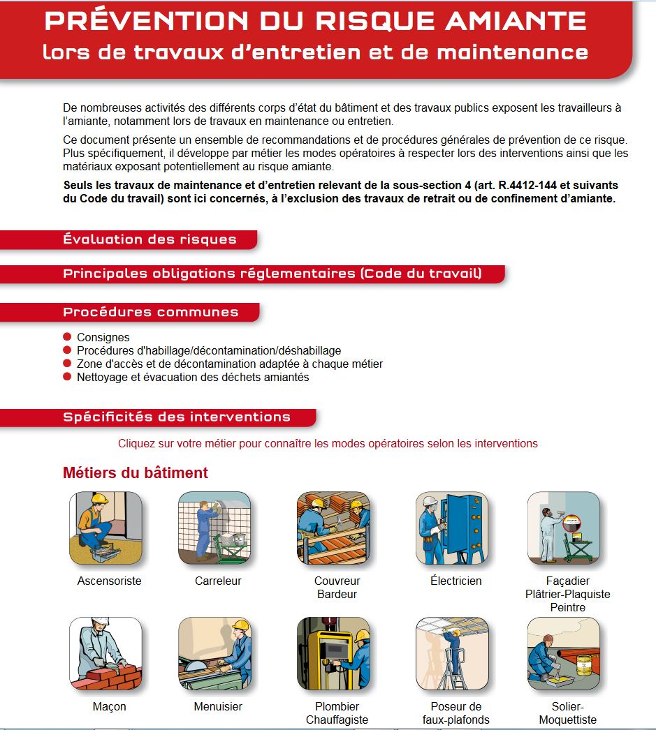 pr u00e9vention du risque amiante lors de travaux d u0026 39 entretien et de maintenance  sous
