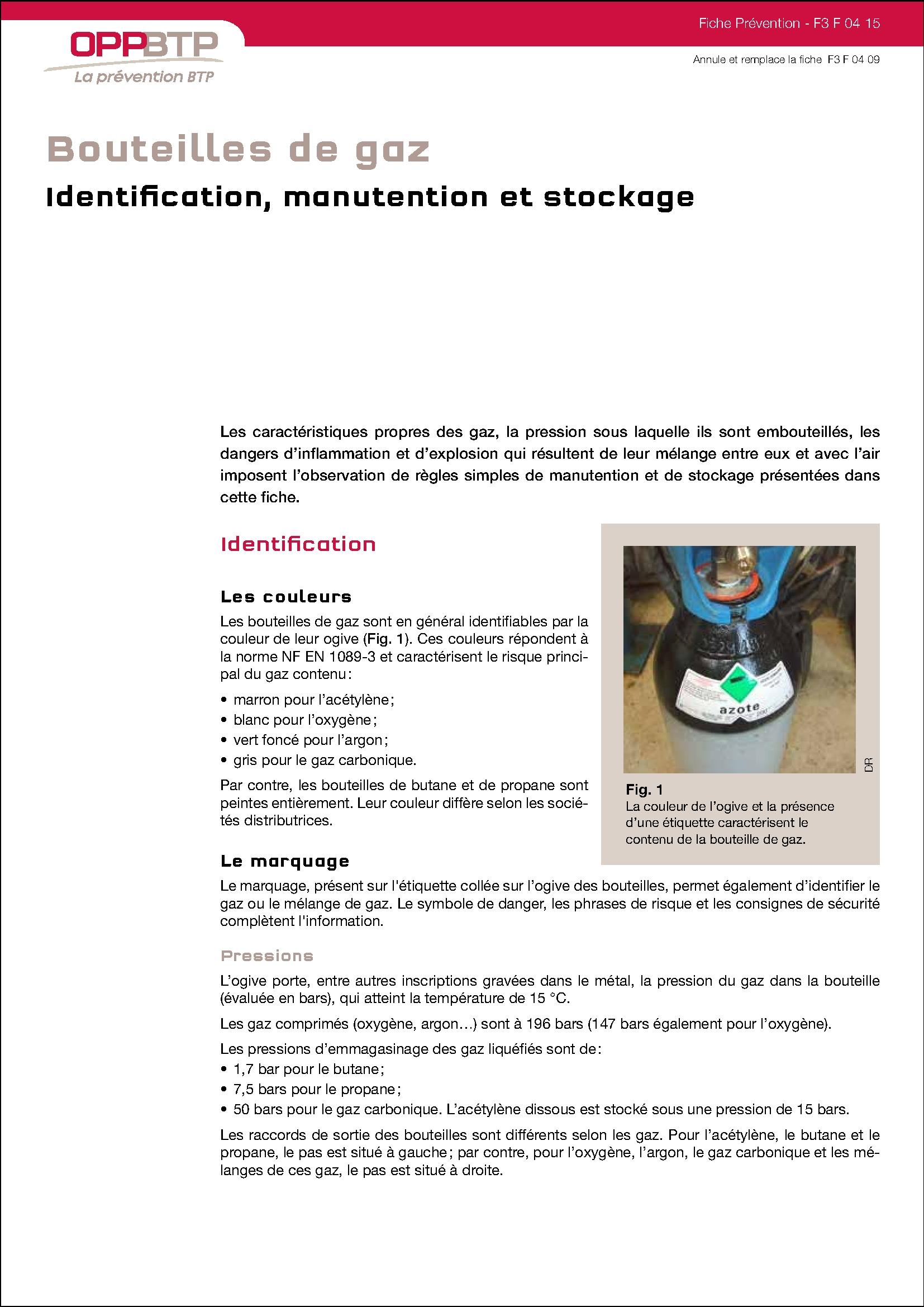 Le Gaz Butane dedans bouteilles de gaz : identification, manutention et stockage