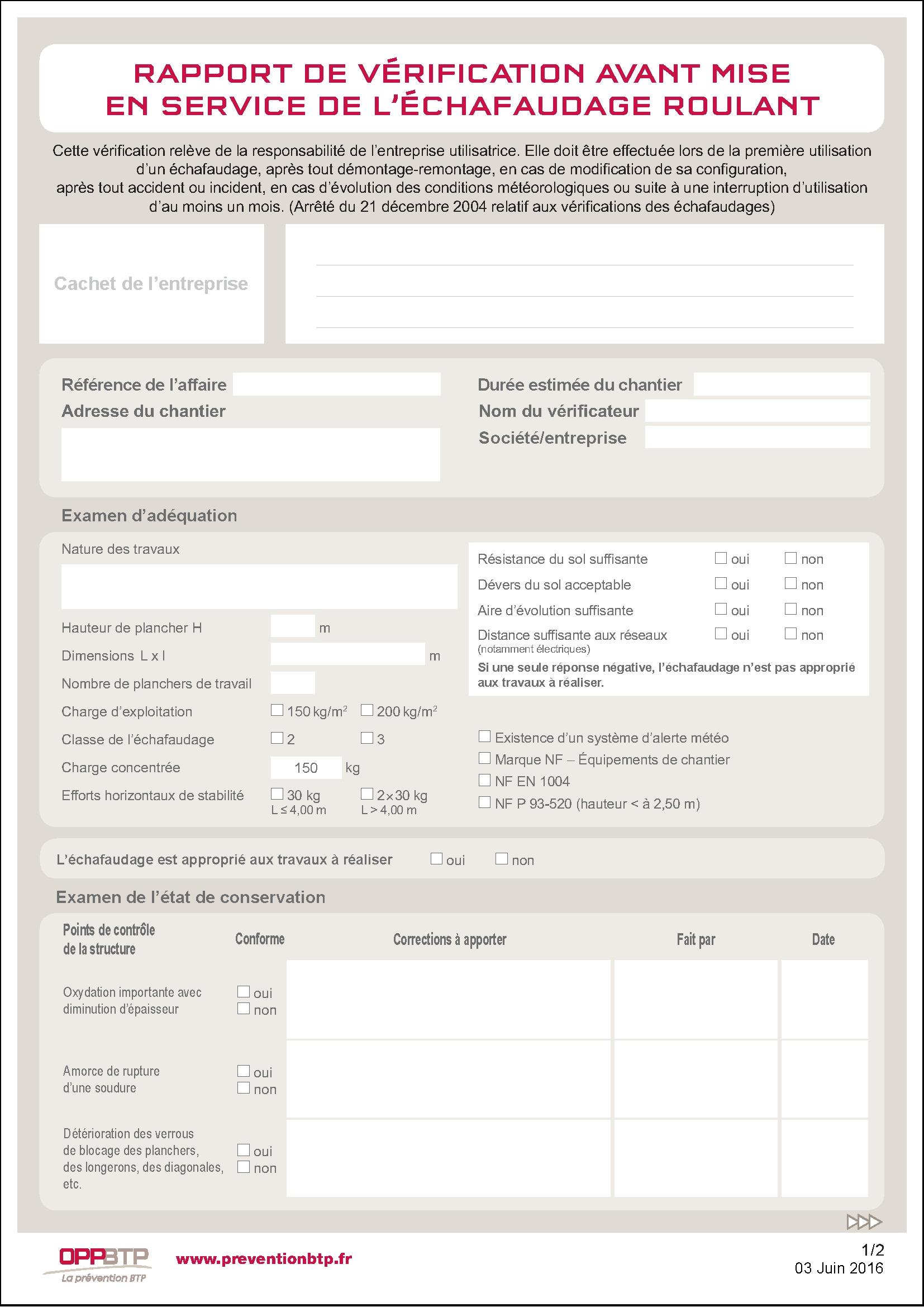 rapport de v u00e9rification avant mise en service de l u0026 39  u00e9chafaudage roulant pr u00e9vention btp